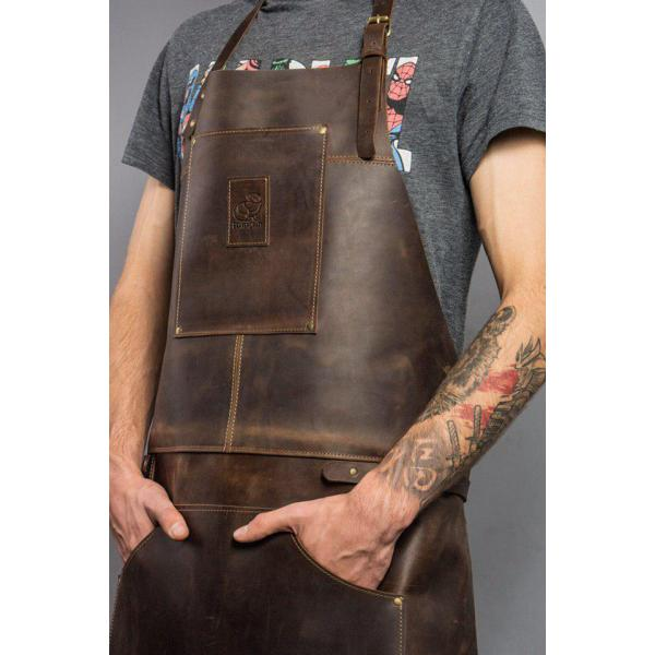 Beavercraft AP2X Genuine Leather Woodworkers Apron - Brown