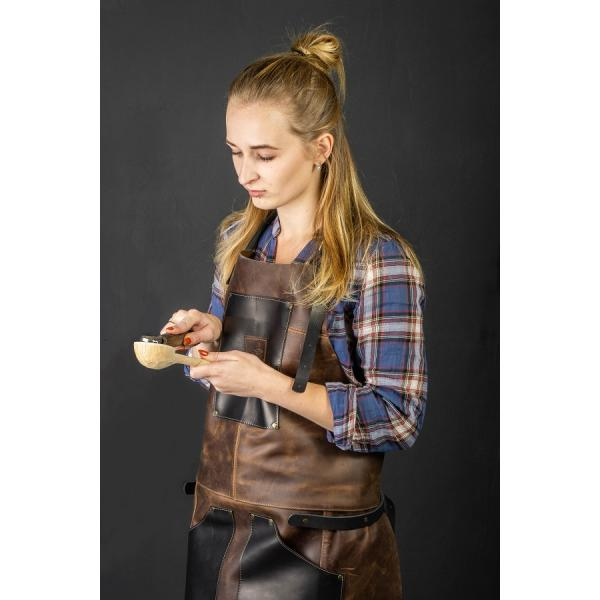 Beavercraft AP3X Genuine Leather Woodworkers Apron - Black and Brown