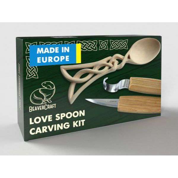 BeaverCraft Celtic Spoon Carving Kit – Includes Two Knives - Complete Starter Whittling Kit
