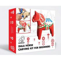 BeaverCraft Dala Horse Starter Whittling Kit - Includes Knife, Paint, Wood and Strop