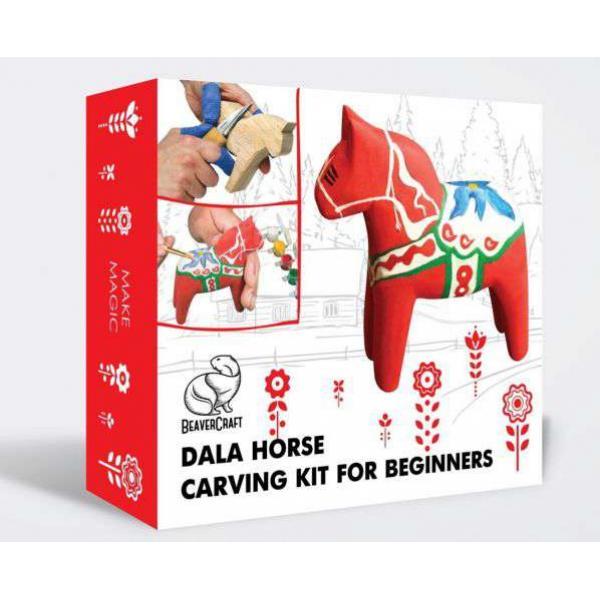 Beaver Craft Dala Horse Hobby Kit – Complete Starter Whittling and Painting Kit