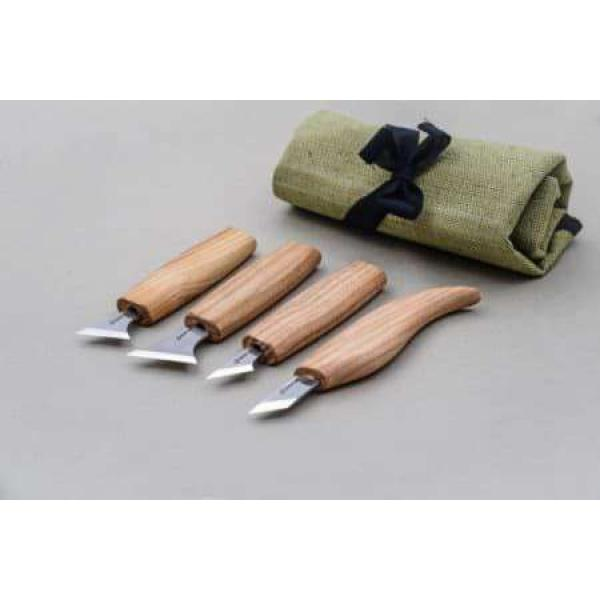 Beaver Craft S05 Geometric Wood Carving Set - 4 Knives and Storage Roll