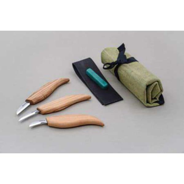 Beaver Craft S06 Chip Wood Carving Set - 3 Knives and Accessories
