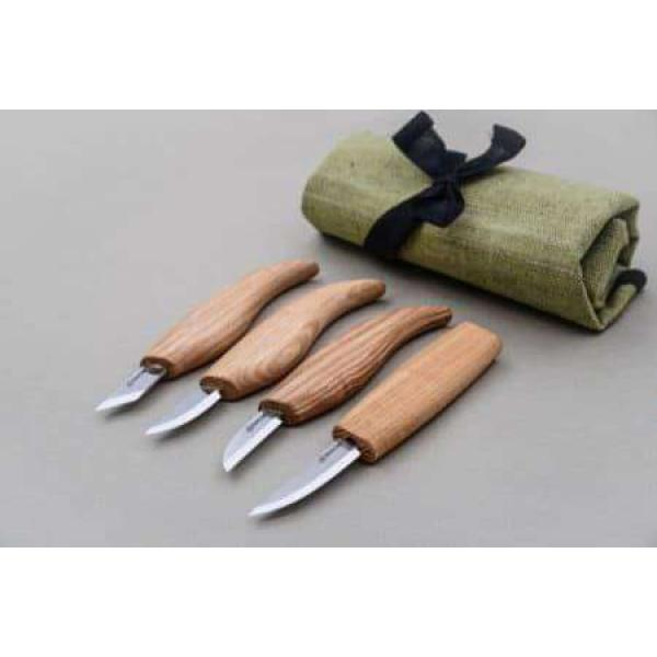 Beaver Craft S07 Basic Wood Carving Set - 4 Knives and Tool Roll