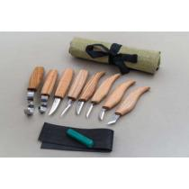 BeaverCraft S08 - 8 Piece Wood Carving Set - 8 Knives, Strop, Compound and Tool Roll