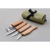 BeaverCraft S09 - 5 Piece Spoon and Wood Carving Set - 4 Knives and Tool Roll