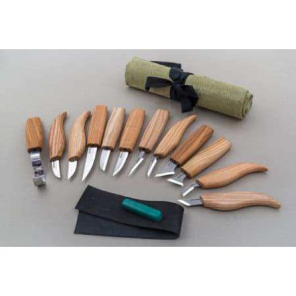 Beaver Craft S10 Wood Carving Set - 12 Knives Strop and Tool Roll