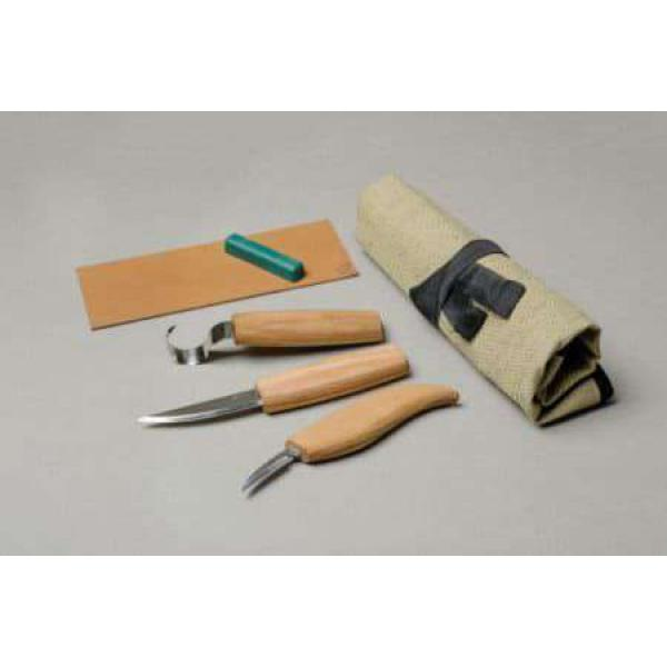 Beaver Craft S13 Spoon Wood Carving Knife Set - 4 Knives Strop and Tool Roll
