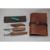 BeaverCraft S13X - Limited Edition Premium Wood Carving Tool Set for Spoon Carving with Leather Pouch