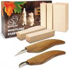 Beavercraft S16 Figure Carving Set - 2 Knives, Linden Wood Block Blanks and 3 Carving Patterns