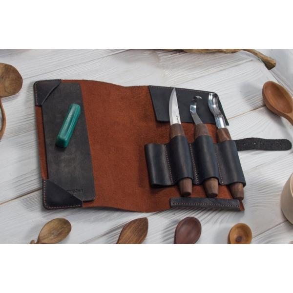 Beavercraft S14X Deluxe Spoon Carving Set with Gouge and Genuine Leather Roll