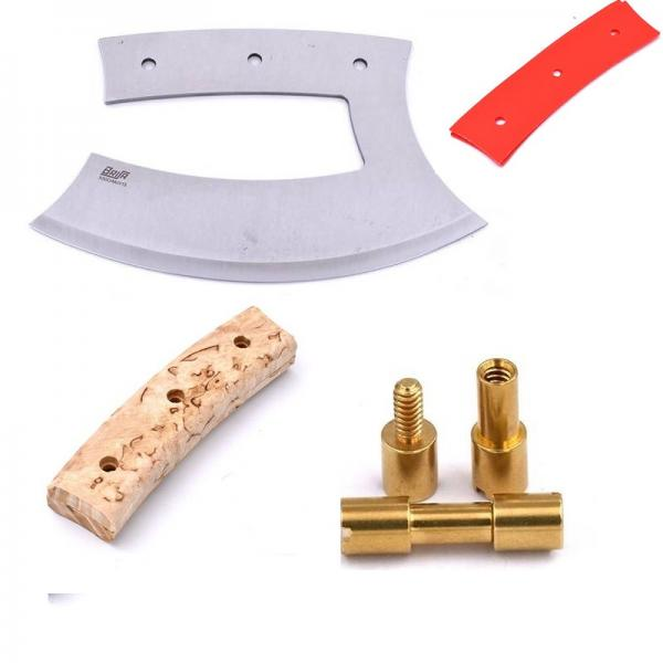 Brisa Ulu 150 Knife Making Kit - Curly Birch Handle, Brass Rivets, Red PP Liners