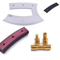 Brisa Ulu 150 Knife Making Kit - Red and Black Micarta Handle, Brass Rivets, Black Vulcanized Liners