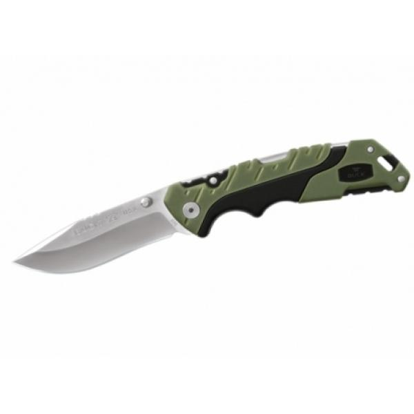"Buck 659 Large Pursuit Folding Knife 3.625"" 420HC Stainless Steel Drop Point, Green GRN and Rubber Handles, Nylon Sheath"