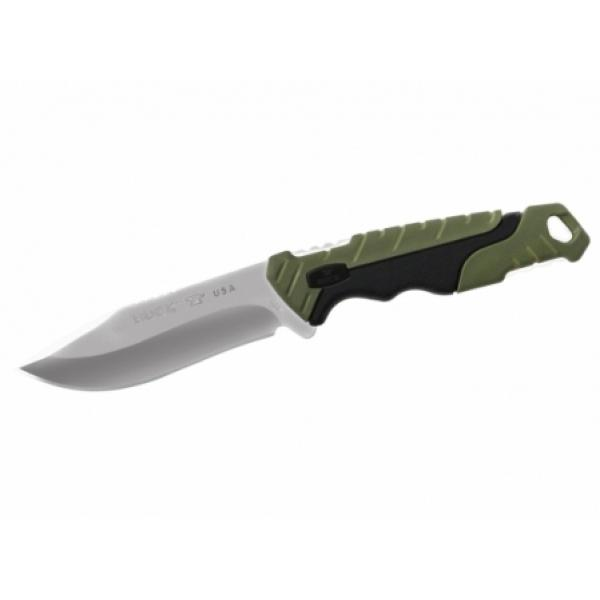 "Buck 658 Small Pursuit Fixed Blade Knife 3.75"" 420HC Stainless Steel Drop Point, Green GRN and Rubber Handles, Nylon Sheath"