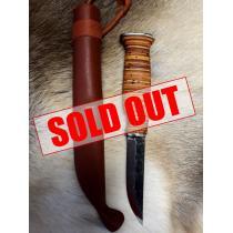 "Casstrom Birch Bark Puukko Knife - 3.74"" Carbon Blade, Birch Bark Handle, Leather Sheath"