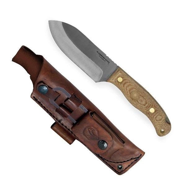 "Condor Toki Knife 4.73"" 1075 Carbon Steel Blade, Micarta Handles, Welted Leather Sheath with Fire Starter"
