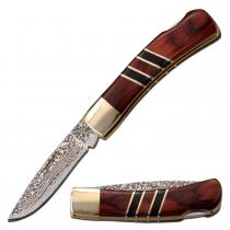 """Elk Ridge ER-951WBCR - Manual Folding Gentleman's Knife - 2.25"""" Blade - Brown Packwood Handle"""