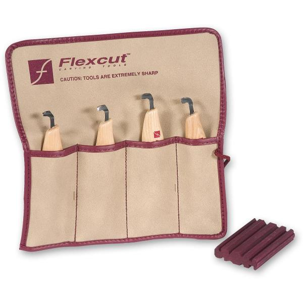 Flexcut 3 Piece Detail Knife Set - 3 Detail Knives with Sharpening Compound