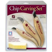 Flexcut 3 Piece Chip Carving Knife Set with Sharpening Compound (KN115)