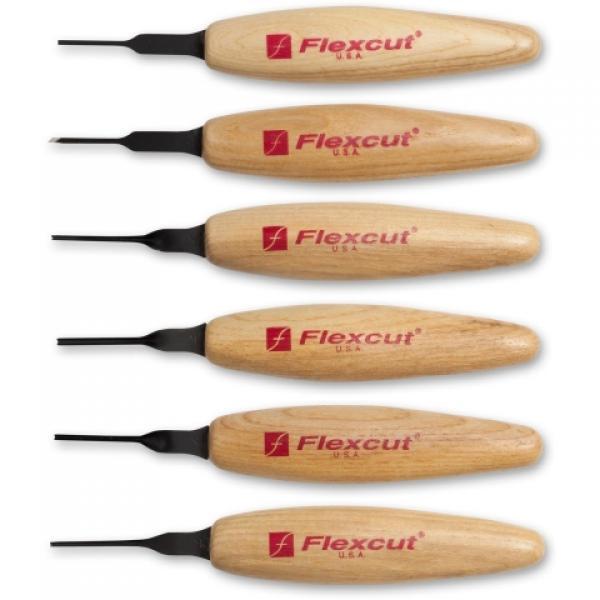 Flexcut MT910 6 Piece 1.5mm Mixed Profile Wood Carving Micro Tool Set