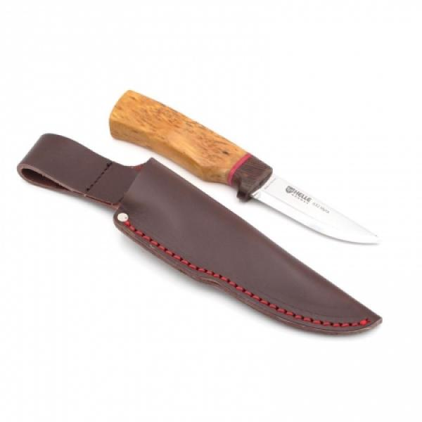 """Helle Myra Knife - 2019 Special Edition - 2.9"""" Blade, Curly Birch Handle, Leather Sheath"""