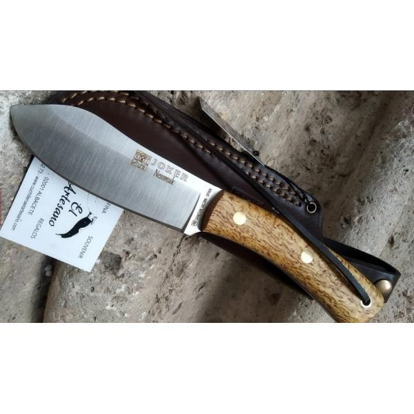 """Joker CL136-P Nessmuk Bushcraft Knife with Birch Handle - 4.33"""" Blade with Firesteel and Leather Sheath"""