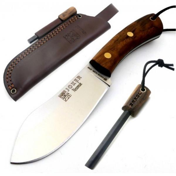 "Joker CN136-P Nessmuk Bushcraft Knife with Walnut Handle - 4.33"" Blade with Firesteel and Leather Sheath"