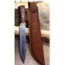 "Karesuando Large Hunter Knife - 6.29"" Blade - Dark Curly Birch Handle"