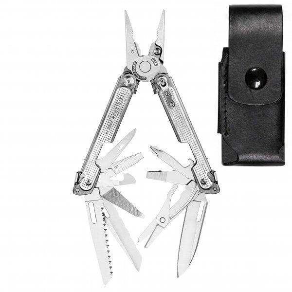 Leatherman Free P4 - One Handed Opening Multi Tools - 21 Tools - Leather Sheath