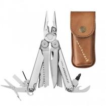 Leatherman Wave+ Multi-Tool Stainless Steel with Brown Leather Heritage Sheath