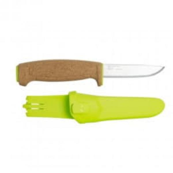 "Mora Floating Knife 3.81"" Blade, Cork Handle, Lime Polymer Sheath"