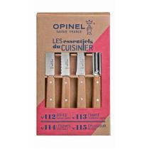 Opinel Olive Wood 4pc Kitchen Knife Set - Paring, Serrated, Vegetable and Peeler
