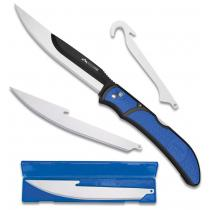 Outdoor Edge Razorfin Folding Fillet Knife with Interchangeable Blades, Blue TPR Handles, 4 Blades Included