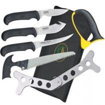 Outdoor Edge Butcher-Lite 8-Piece Field Butcher Kit, Nylon Roll-Pack/Belt Scabbard