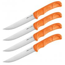 """Outdoor Edge Wildgame 4pc Steak Knife Set 5"""" Satin Serrated Blades, Blaze Orange Handles"""