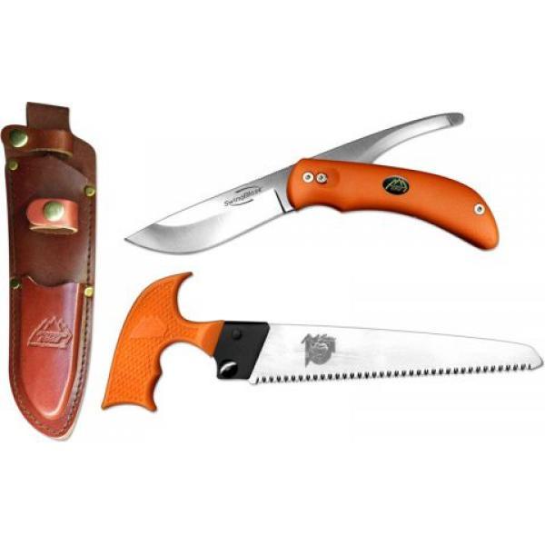 Outdoor Edge SwingBlaze-Pak, Rotating 2-Blade Knife and Saw Combo, Orange Handles
