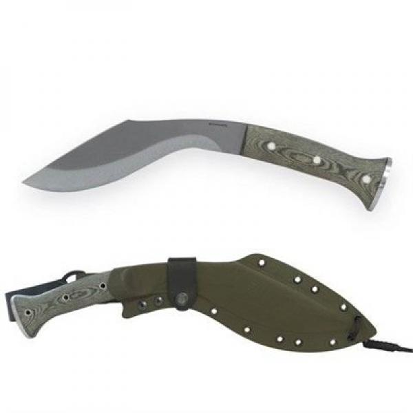 "Condor K-TACT Kukri Knife Fixed 10"" Carbon Steel Blade, Army Green Micarta Handles, Kydex Sheath"