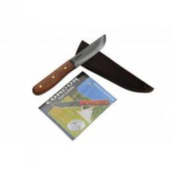 "Condor Bushcraft Basic Knife 4"" Carbon Steel Black Blade, Hardwood Handle, Leather Sheath"