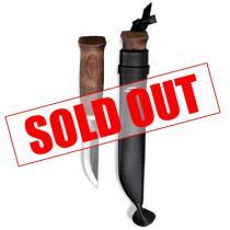 """Marttiini Black Lumberjack Knife 3.54"""" Carbon Steel Blade Leather Sheath"""