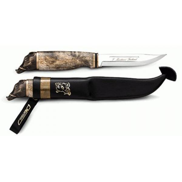 "Marttiini Wild Boar 4.3"" Knife Birch Handle Leather Sheath"