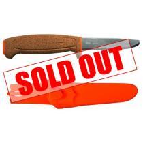 """Mora Floating Serrated Knife 3.75"""" Polished Blunt Tip Blade, Cork Handle, Orange Polymer Sheath"""
