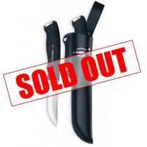 "Marttiini Silver Carbinox Big Wood 3.3"" Carving Knife Soft Grip Handle Leather Sheath"