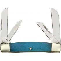 """Rough Ryder Tiny Congress Sheepsfoot Pen Knife - 2"""" Closed, Blue Smooth Bone Handle"""