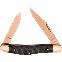 Rough Ryder Copper Ridge Baby Copperhead Twin Blade Pocket Knife - Grooved Buffalo Horn Handle