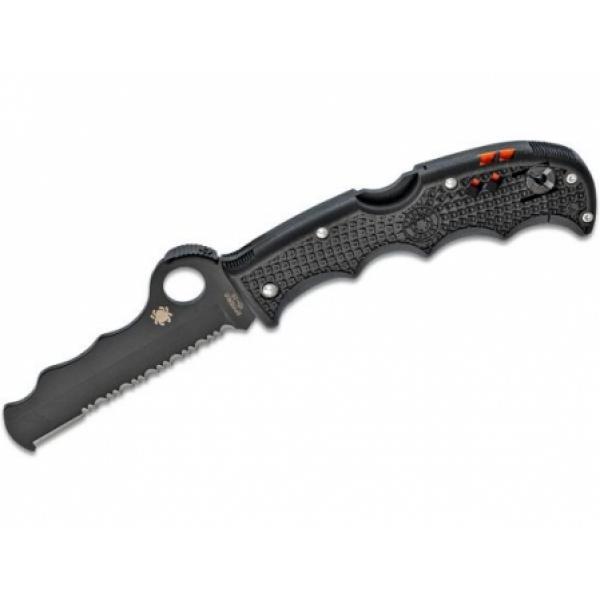 """Spyderco Assist Rescue Folding Knife 3-11/16"""" VG10 Black Combo Blade, Black FRN Handles, Whistle, Window Breaker"""