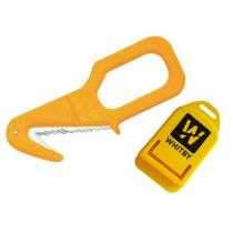 """Serrated Safety Rescue Cutter 5"""" - Yellow Thermoplastic with Sheath"""