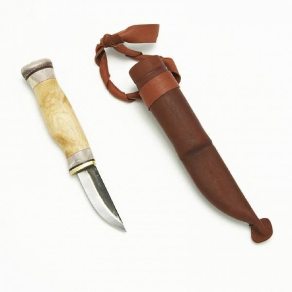 "Wood Jewel Wilderness 6.2 Knife - 2.5"" Carbon Steel Blade - Curly Birch Handle"
