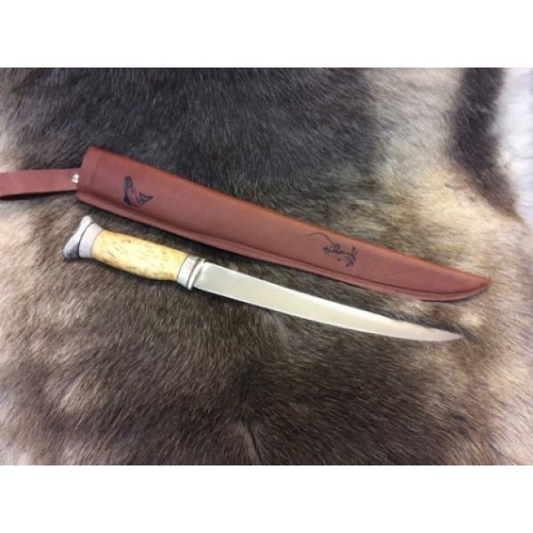 "Wood Jewel 23FPI Fish Filleting Knife - 8.66"" Blade - Leather Sheath - Curly Birch Handle"