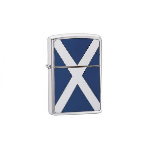 Scotland Flag Brushed Chrome Zippo Lighter - Genuine Zippo windproof lighter